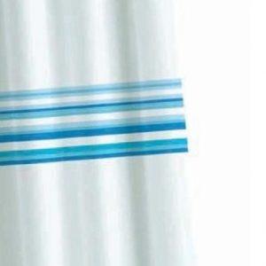 Croydex Blue Bars Quality Textile Shower Curtain