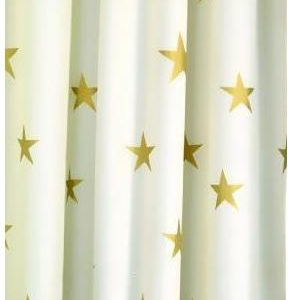 Croydex Gold Stars Textile Shower Curtain