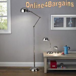 Simone Chrome Effect Pharmacy Study Floor Lamp