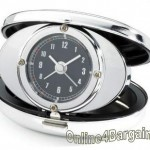 Retro Style Chrome Folding Travel Alarm Clock