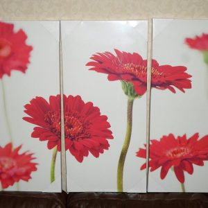 Large Red Gerbera Floral Canvas 3 Panel Wall Art