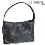 LOREAL Grey Satin Feel Floral Handbag