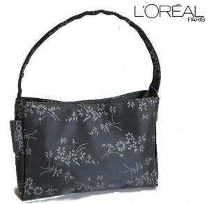LOREAL Grey Satin Feel Floral Handbag
