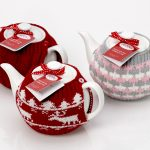 Tea Pot & Red Knitted Cosy Gift Set