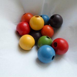 96 Large 20mm Multi-coloured Round Wood Beads