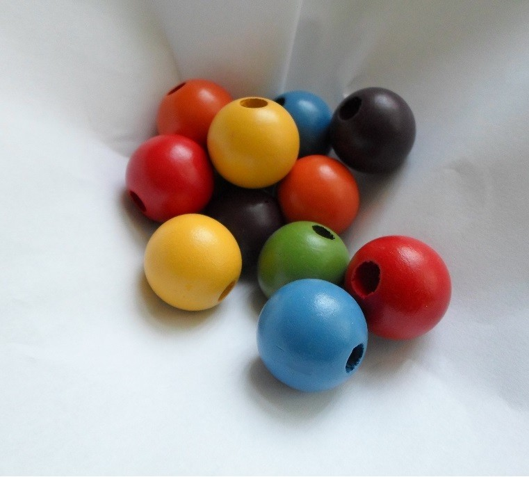 96 Large 20mm Multi Coloured Round Wood Beads