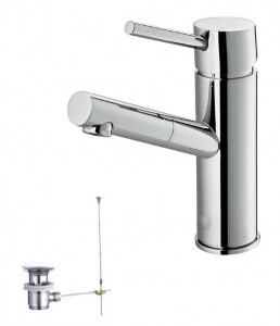 Single Lever Chrome Finish Washbasin Faucet Model GM16076C