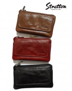 Stratton Branded Luxury Italian Leather twin zipper ladies purse