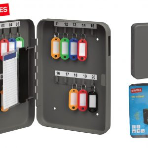 Staples 20 Key Cabinet, Dark Grey key Safety storage box