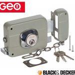 GEO Black & Decker Door Security Rim Lock Right Fixed Cylinder - Grey