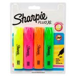 Sharpie Fluo XL Highlighter Pens Mixed Colours With Quick Drying Ink Pack Of 4