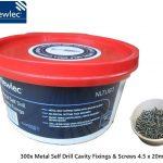 Newlec 300x Metal Self Drill Cavity Fixings & Screws 4.5 x 20mm Tub