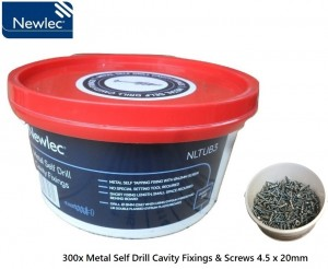 Newlec 300x Metal Self Drill Cavity Fixings & Screws 4.5 x 20mm Tub