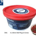 Newlec 500x Wall Plugs & Screws 4 x 40mm Tub