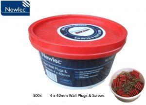 Newlec 500x Wall Plugs & Screws 4 x 40mm Tub
