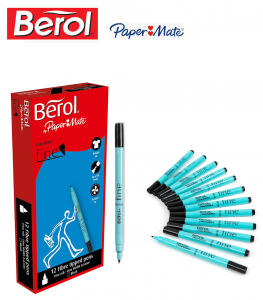 Berol Black Water-Based Colourfine Pens .Pack of 12