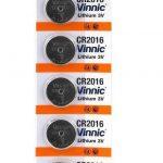 VINNIC CR2016 Pack 5 Lithium 3V Coin Cell Batteries