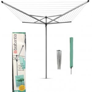 Brabantia 50m 4-Arm Topspinner Rotary Airer with Ground Spike & Cover