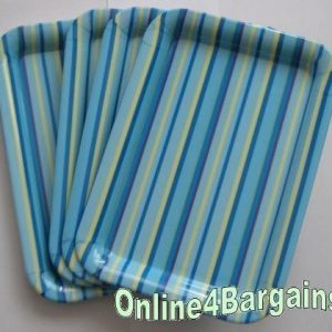 4 Square Melamine Stripe Food Party Picnic Plates