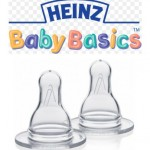 HEINZ 2x Baby Basics Slow Flow Teats 0-3 months