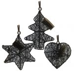 set of 18x 3D Steel Christmas Wire ornaments decoration Heart,Star,Tree