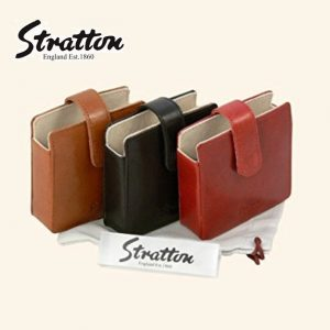 Stratton large square leather pouch for compact or Clock