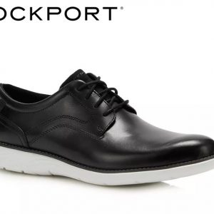 Rockport Black Leather 'Garett' Derby Plain Toe Shoes Size UK 8 CH3816