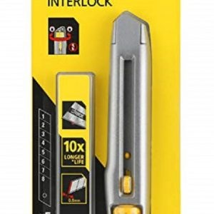 STANLEY Interlock 18mm Utility Knife with 5x Tumgston Carbide Spare blades