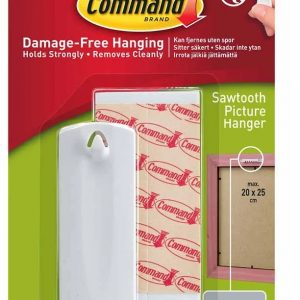 3M Command White Self Adhesive Sawtooth Picture Hanger.Holds up to 1.8Kg