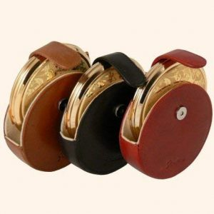 Stratton large Round leather pouch for compact or Clock